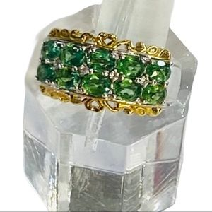 NEW Faceted Green Apatite 925SS Ring Size 6